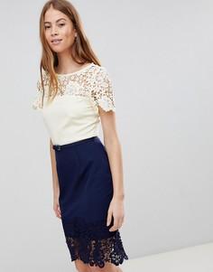 Сине-кремовое кружевное платье Paper Dolls - Кремовый