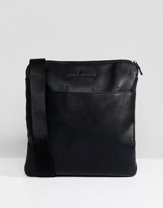 Черная сумка для авиапутешествий из искусственной кожи с логотипом Armani Exchange - Черный
