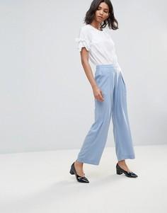 Креповые широкие брюки Neon Rose - Синий