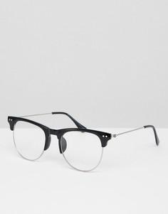 Очки в стиле ретро с прозрачными стеклами 7X - Черный