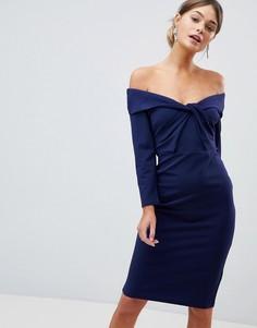 Платье миди с длинными рукавами и перекрученной отделкой City Goddess - Темно-синий
