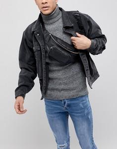 Черная кожаная сумка-кошелек на пояс с накладным карманом ASOS DESIGN - Черный