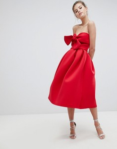 Приталенное платье-бандо с бантом True Violet - Красный