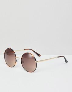 Солнцезащитные oversize-очки в круглой оправе Monki - Коричневый