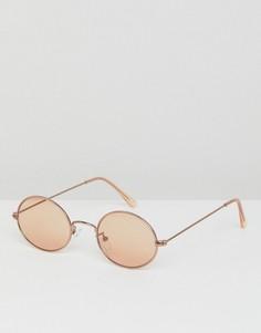 Овальные солнцезащитные очки с коричневыми линзами ASOS - Медный