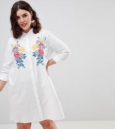 Платье-рубашка из хлопка с вышивкой ASOS DESIGN Curve - Белый