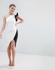 Платье-футляр колор блок с оборками Vesper - Белый