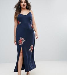 Платье макси с цветочной вышивкой Club L Plus - Темно-синий