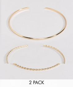 Комплект из 2 витых браслетов-манжет ASOS - Золотой