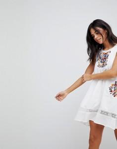 Летнее платье без рукавов с вышивкой Hazel - Белый
