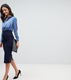 Комбинируемая юбка-карандаш с завышенной талией ASOS TALL - Темно-синий