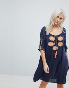 Темно-синее пляжное платье с цветочной вышивкой Liquorish - Темно-синий