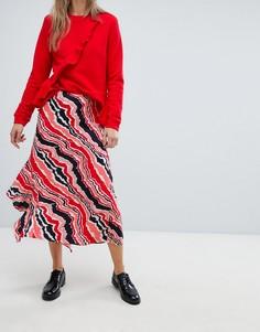 Асимметричная юбка в полоску In Wear Piritta - Красный