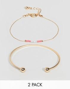 Браслет-манжета и браслет-цепочка в два оборота с бусинами ASOS DESIGN - Золотой