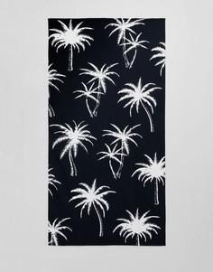 Полотенце с черно-белым пальмовым принтом ASOS DESIGN - Черный