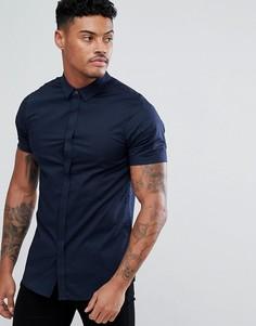 Темно-синяя узкая хлопковая рубашка с короткими рукавами Armani Exchange - Темно-синий
