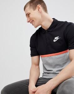 Поло серого цвета в стиле колор блок Nike Matchup 886507-010 - Серый