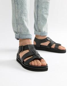 Черные кожаные сандалии на массивной подошве Dune - Черный