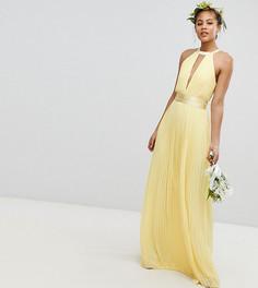 Плиссированное платье макси с перекрестной отделкой и бантом на спине TFNC Tall Bridesmaid - Желтый