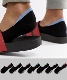 7 пар невидимых носков с контрастной отделкой на пятке и логотипом на подошве ASOS DESIGN - Черный