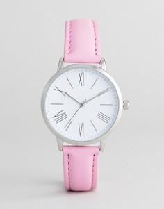 Часы с розовым кожаным ремешком ASOS DESIGN - Розовый
