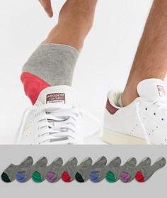 10 пар серых невидимых носков с контрастными вставками ASOS DESIGN - Серый