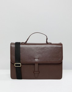 Бордовый кожаный портфель ASOS DESIGN - Красный
