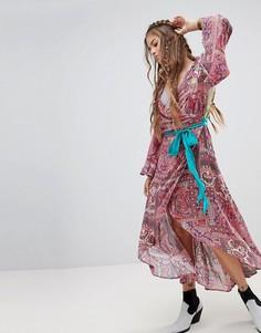 Платье макси с расклешенными рукавами и премиум-отделкой Aratta - Мульти