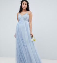 Кружевное платье макси ASOS DESIGN Maternity - Синий