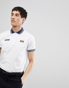 Белое поло с логотипом на груди ellesse - Белый