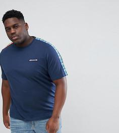 Темно-синяя футболка с отделкой в стиле колор блок ellesse PLUS - Темно-синий