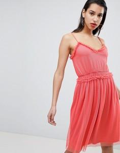 Платье из сетчатой ткани добби Vila - Розовый