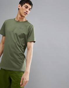 Футболка цвета хаки Jack Wolfskin Essential - Зеленый