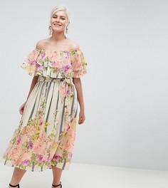 Платье-бандо миди с оборками и цветочно-полосатым принтом ASOS DESIGN Curve - Мульти