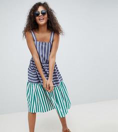 Ярусное летнее платье миди в полоску ASOS DESIGN Tall - Мульти