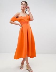 Платье миди для выпускного с широким вырезом и складками ASOS DESIGN - Оранжевый