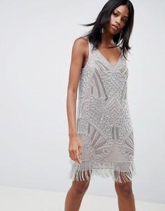 Декорированное платье мини на бретелях ASOS EDITION - Серебряный