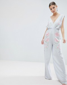 Комбинезон с широкими штанинами и вышивкой ASOS DESIGN - Синий