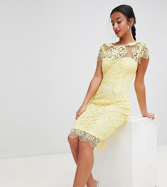Кружевное платье-футляр с короткими рукавами Paper Dolls Petite - Желтый
