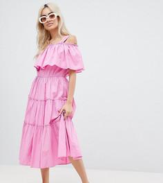 Ярусное платье макси с открытыми плечами Vero Moda Petite - Розовый