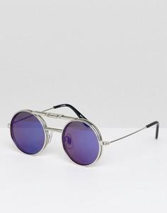 Круглые солнцезащитные очки с синими стеклами Spitfire - Серебряный