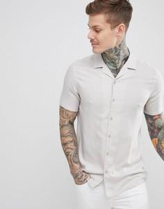 Серая рубашка классического кроя из вискозы с отложным воротником ASOS DESIGN - Серый