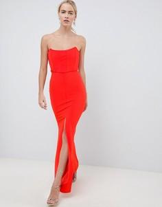 Платье макси в корсетном стиле с разрезом ASOS DESIGN - Бежевый