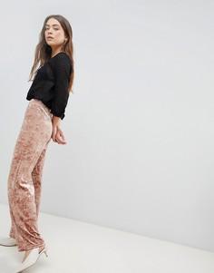 Широкие брюки из бархата с мятым эффектом JDY Mona - Розовый