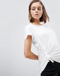Трикотажная футболка со сборками и завязками AllSaints - Белый