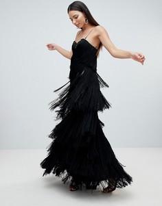 Платье макси с бахромой Forever Unique - Черный
