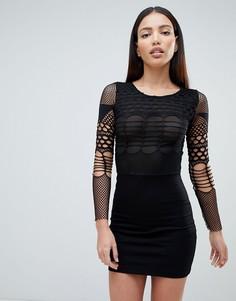 Платье мини с сетчатой отделкой Forever Unique - Черный
