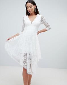 Кружевное приталенное платье Forever Unique - Белый