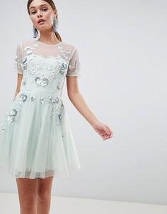 Платье мини из тюля с открытой спиной ASOS DESIGN - Синий