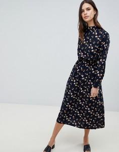 Платье макси с длинными рукавами и цветочным принтом Uttam Boutique - Темно-синий